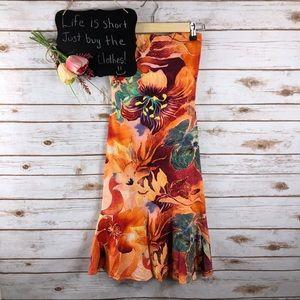 Cache orange red floral Hawaiian strapless dress